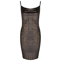 Miss Selfridge - Bronze velvet cowl dress