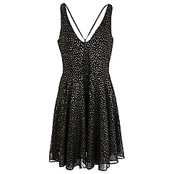Miss Selfridge - Black and gold skater dress