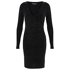 Miss Selfridge - Glitter wrap front dress