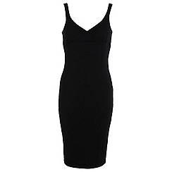 Miss Selfridge - Black rib midi bodycon dress