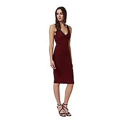Miss Selfridge - Plunge rib midi bodycon dress