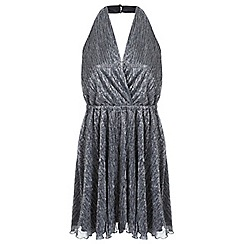 Miss Selfridge - Silver plisee halter dress