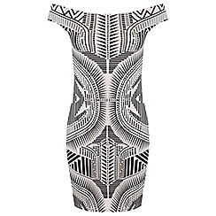 Miss Selfridge - Printed bardot bodycon dress