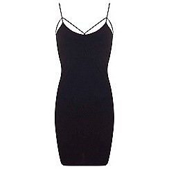 Miss Selfridge - Black strappy detail bodycon