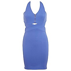 Miss Selfridge - Blue zip front bodycon dress