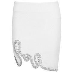 Miss Selfridge - White embellished mini skirt