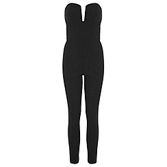 Miss Selfridge - Black bandeau jumpsuit