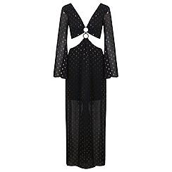 Miss Selfridge - Black and gold trim maxi dress