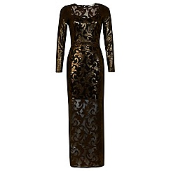 Miss Selfridge - Gold shimmer maxi dress