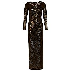 Miss Selfridge - Gold shimmer maxi dress