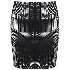 Miss Selfridge - Metallic print mini skirt
