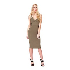 Miss Selfridge - Olive rib plunge dress