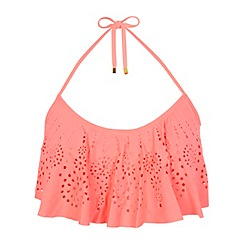 Miss Selfridge - Coral laser cut bikini top