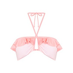 Miss Selfridge - Pink stripe bandeau bikini top