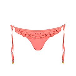 Miss Selfridge - Coral laser cut bikini bottoms