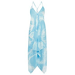 Miss Selfridge - Blue leaf print cover up