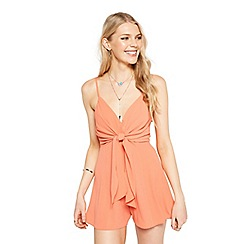 Miss Selfridge - Petite tie front playsuit