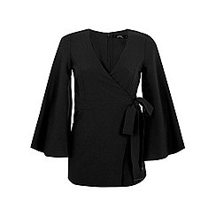 Miss Selfridge - Petites black kimono playsuit