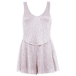 Miss Selfridge - Petites blush overlay playsuit