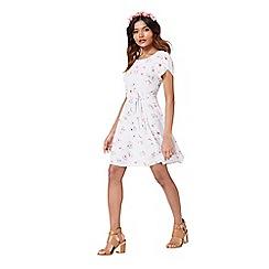 Miss Selfridge - Petites grey floral tea dress