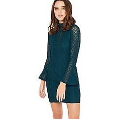 Miss Selfridge - Green high neck petite dress