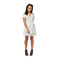 Miss Selfridge - Petites ivory spot wrap dress