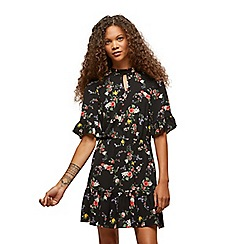 Miss Selfridge - Petites black floral tea dress