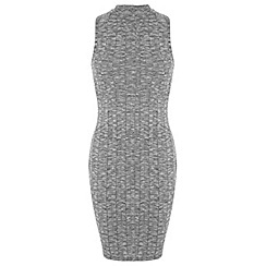 Miss Selfridge - Petites grey rib midi dress
