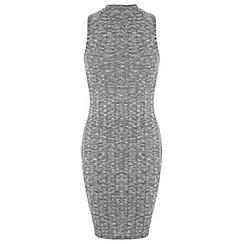 Miss Selfridge - Petites grey rib midi dress