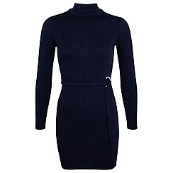 Miss Selfridge - Petites navy rib bodycon dress