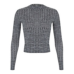 Miss Selfridge - Petites grey rib polo top