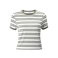 Miss Selfridge - Petites khaki twin stripe tee