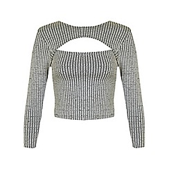 Miss Selfridge - Petites grey peekaboo top