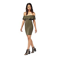 Miss Selfridge - Petites khaki bodycon dress