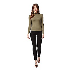 Miss Selfridge - Petites khaki roll neck top