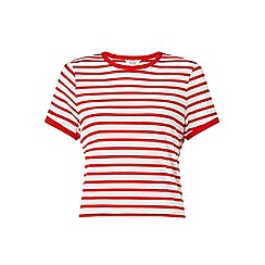 Miss Selfridge - Petites red stripe t- shirt