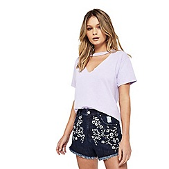 Miss Selfridge - Petite choker neck t-shirt