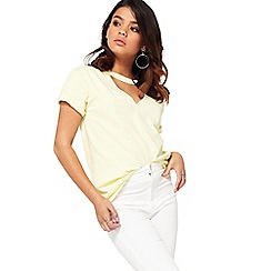 Miss Selfridge - Petite choker neck t-shirt