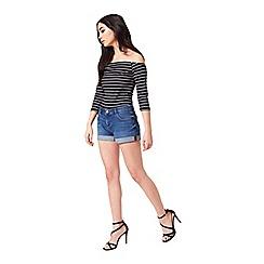 Miss Selfridge - Petites 3/4 stripe bardot top