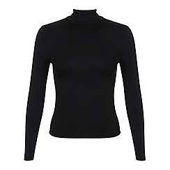 Miss Selfridge - Petites black roll neck top