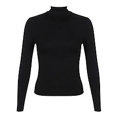 Miss Selfridge - Petites black roll neck top