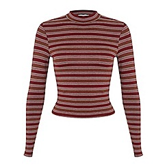 Miss Selfridge - Petites stripe rust polo top