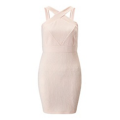 Miss Selfridge - Petites nude choker neck dress