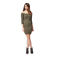 Miss Selfridge - Petites khaki rib bardot dress