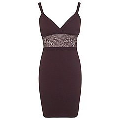 Miss Selfridge - Petites burgundy plunge dress