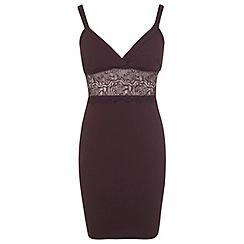 Miss Selfridge - Petites burgundy plunge dress