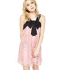 Miss Selfridge - Petite pink lace bow dress