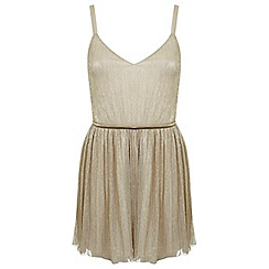 Miss Selfridge - Petites gold skater dress