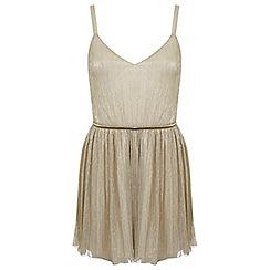 Miss Selfridge - Petites gold skater dress