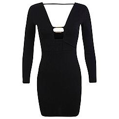 Miss Selfridge - Petites black plunge dress